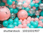 pink and mint balloons photo... | Shutterstock . vector #1031031907