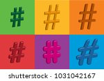 3d colourful hashtags in vector ... | Shutterstock .eps vector #1031042167