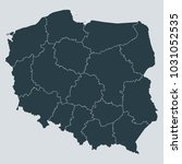 poland map on gray background...   Shutterstock .eps vector #1031052535