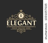 luxury logo template flourishes ... | Shutterstock .eps vector #1031057035