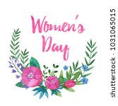 watercolor frame of pink...   Shutterstock . vector #1031065015