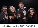 happy young people with a glass ... | Shutterstock . vector #1031066005