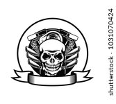motorcycle club badge with... | Shutterstock .eps vector #1031070424