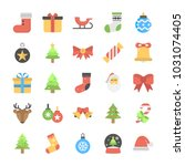 christmas flat vector icons | Shutterstock .eps vector #1031074405