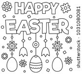 happy easter. coloring page.... | Shutterstock .eps vector #1031080081