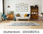 vintage tv standing on a wooden ... | Shutterstock . vector #1031082511