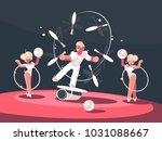 artist juggler in circus arena. ...   Shutterstock .eps vector #1031088667