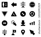 solid vector icon set  ... | Shutterstock .eps vector #1031091529