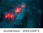 raindrops on a window with... | Shutterstock . vector #1031110471