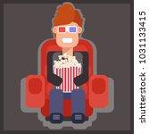 in the cinema watching 3d ... | Shutterstock .eps vector #1031133415