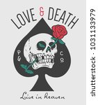 love and death slogan with... | Shutterstock .eps vector #1031133979