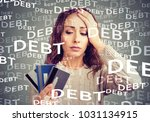 concerned woman looking at many ... | Shutterstock . vector #1031134915