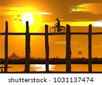 silhouette of a man taking...   Shutterstock .eps vector #1031137474