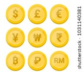world currency symbol and coins ... | Shutterstock .eps vector #1031140381