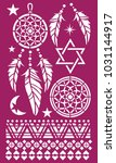 dreamcatcher ornament stencil | Shutterstock .eps vector #1031144917