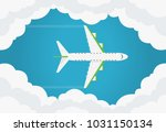airplane in the air top view.... | Shutterstock .eps vector #1031150134