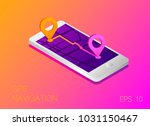 gps map navigation app on... | Shutterstock .eps vector #1031150467