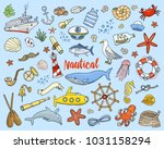sea or marine and nautical life.... | Shutterstock .eps vector #1031158294