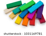 colored plasticine on isolated... | Shutterstock . vector #1031169781