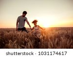 father and daughter running... | Shutterstock . vector #1031174617