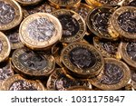 a close up of a pile of one... | Shutterstock . vector #1031175847