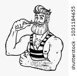 muscular brutal man with a... | Shutterstock .eps vector #1031184655