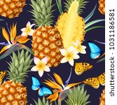 seamless pattern with pineapple ... | Shutterstock .eps vector #1031186581