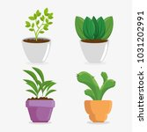 cute houseplant in pot | Shutterstock .eps vector #1031202991