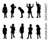 child silhouette cute girl... | Shutterstock .eps vector #1031206027