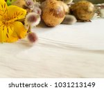 quail eggs easter branch of a... | Shutterstock . vector #1031213149