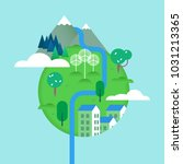green world illustration with... | Shutterstock .eps vector #1031213365