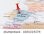 map of spain with a red pushpin. | Shutterstock . vector #1031215174