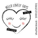sweet heart illustration and... | Shutterstock .eps vector #1031215501