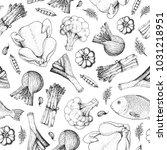 different food vintage... | Shutterstock .eps vector #1031218951