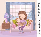 hand drawn mother reads book to ... | Shutterstock .eps vector #1031222671