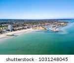 st kilda beach aerial with... | Shutterstock . vector #1031248045