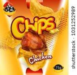 potato chips. chicken flavor....   Shutterstock .eps vector #1031252989