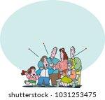 big lively family | Shutterstock .eps vector #1031253475