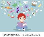 little boy reading a book and... | Shutterstock .eps vector #1031266171