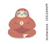 cute cartoon sloth sitting in... | Shutterstock .eps vector #1031269699