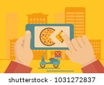 man ordering online pizza... | Shutterstock .eps vector #1031272837
