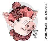 vector pig with knitted hat and ... | Shutterstock .eps vector #1031282011