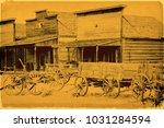 old wild west | Shutterstock . vector #1031284594