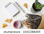 notebook  pen  candles  ginkgo... | Shutterstock . vector #1031288305