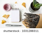 notebook  pen  candles  ginkgo... | Shutterstock . vector #1031288311