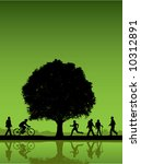 people outdoors with tree... | Shutterstock .eps vector #10312891