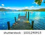 Orta Lake Landscape. Wooden...