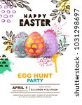 easter egg hunt party vector... | Shutterstock .eps vector #1031298697