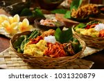 nasi campur bali. popular... | Shutterstock . vector #1031320879