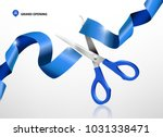 grand opening with blue ribbon... | Shutterstock .eps vector #1031338471
